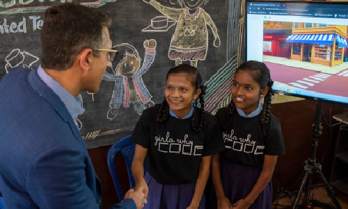 Children from a Girls Who Code club in Bangalore